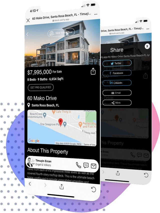 Property Landing Page with Guest Sign In, Listing Information and Agents Direct Contact